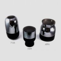 Vaso de vidro prata e preto